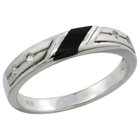 Sterling Silver Onyx Ladies Ring (Sterling Silver Cubic Zirconia Ladies' Wedding Band Ring Black Onyx, 1/8 inch)