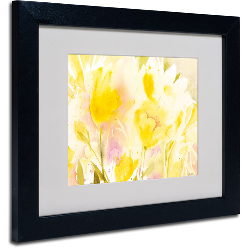 "Trademark Fine Art ""Yellow Gardens"" Matted Framed Art by Sheila Golden, Black Frame"