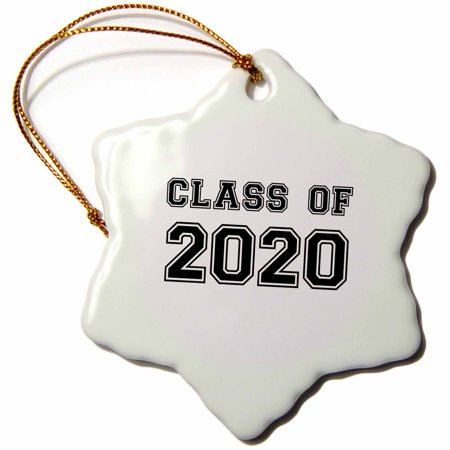 3dRose Class of 2020 - Graduation gift - graduate graduating high school university or college grad black - Snowflake Ornament, 3-inch for $<!---->