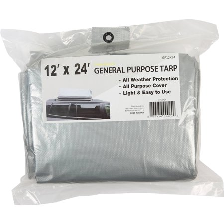 Hyper Tough 12' x 24' Medium Duty Tarp All Weather Protection All Purpose Cover