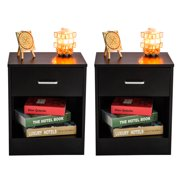 Nightstand Set of 2, One Drawer One Door Bedroom Side Table Bedside Table, 15mm Density Board Dressers, Stable Chest of Drawers, Compact Storage Drawers, Holds up to 150 lbs, Black, Q3087