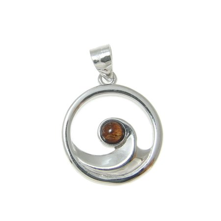 Sterling silver 925 Hawaiian koa wood ocean wave pendant round 15mm