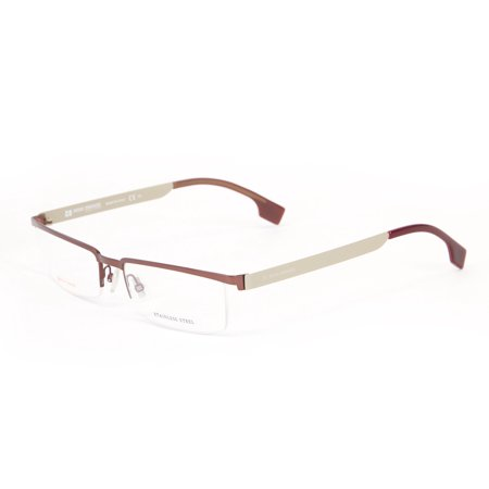 Boss Orange Stainless Steel Semi-Rimless Eyeglass Frames 54mm Burgundy Mud