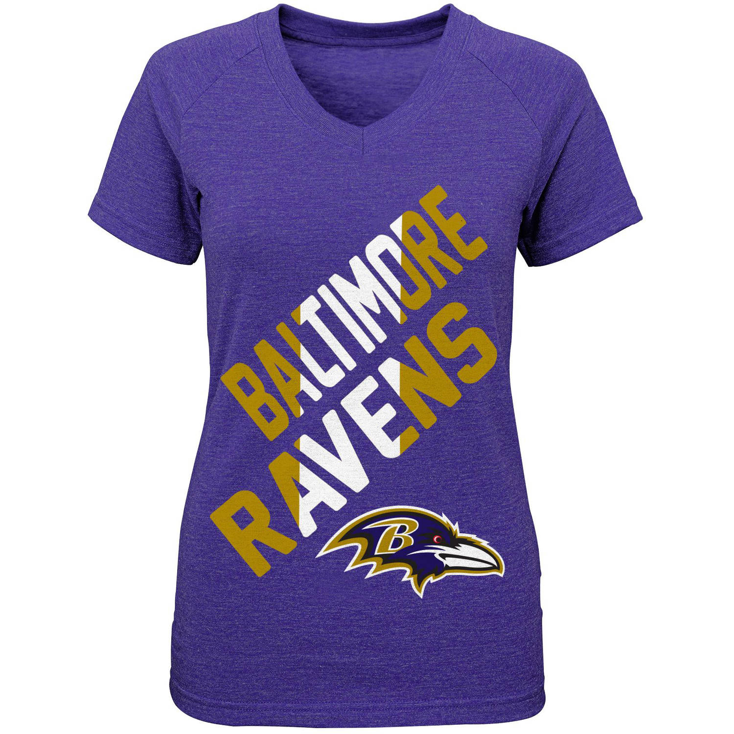 NFL Girls Ravens Short Sleeve Triblend Tee With Team Screenprint