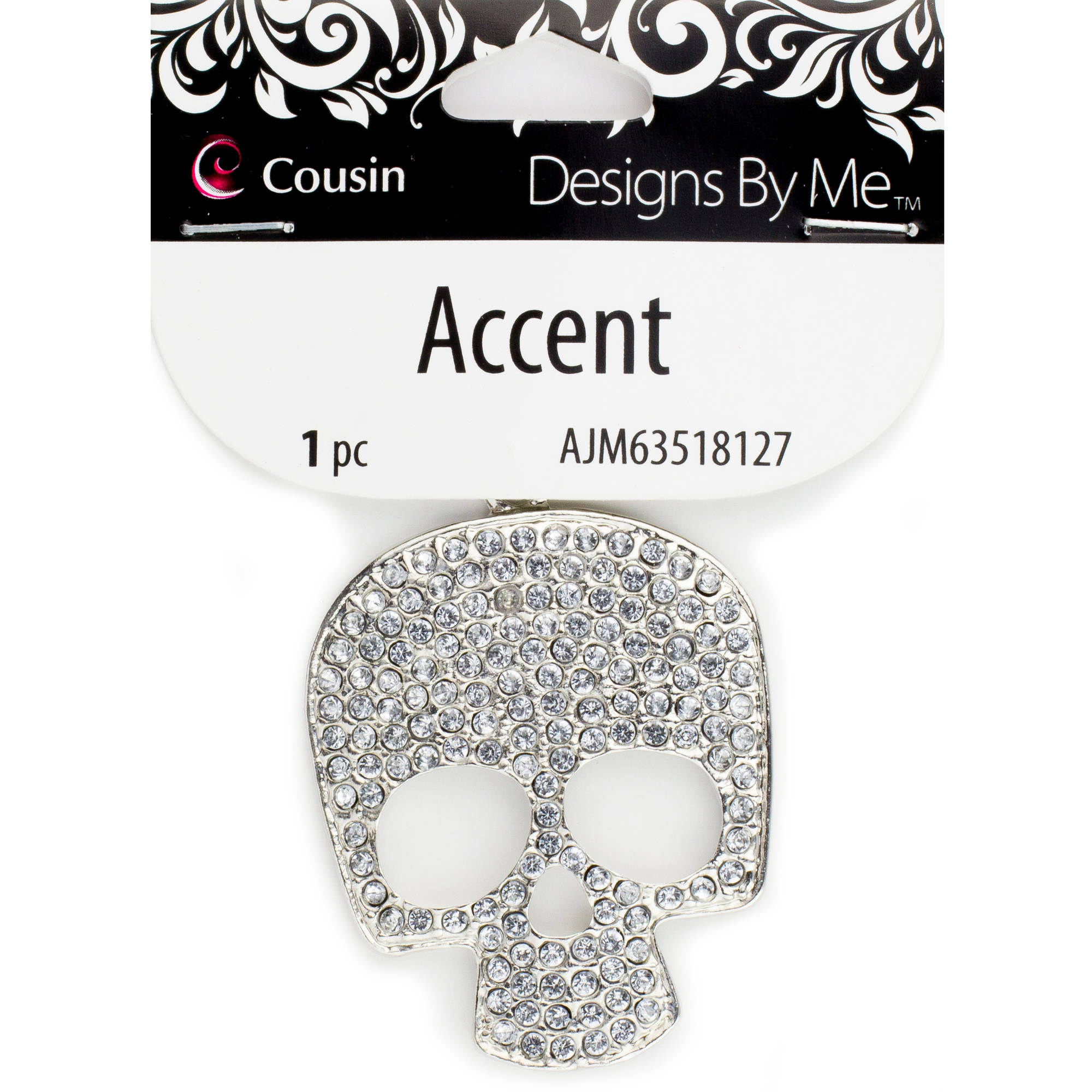 Silver Metal Bling Skull Accent, 1 Piece