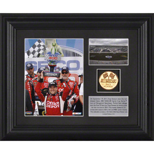 2011 Geico 400 at Chicagoland Speedway Tony Stewart Winner Framed Photograph | Details: Gold Coin, Plate, Limited Edition of 314