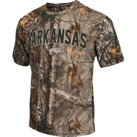 Mens Brown Tine Realtree Camo Arkansas Razorback T Shirt