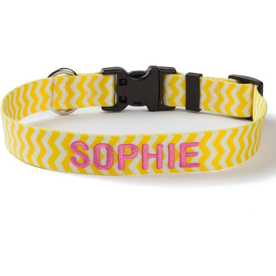 Personalized Yellow Chevron Dog Collar, Medium
