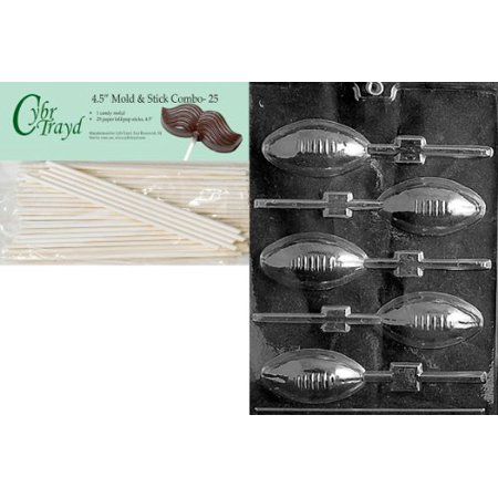 Cybrtrayd 45St25-S026 Football Lolly Sports Chocolate Candy Mold with 25-Pack 4.5-Inch Lollipop Sticks