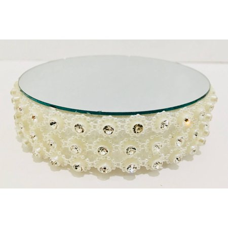Centerpiece Base (Round Beaded Rhinestone Flower Mirror Cake Base Decoration Centerpiece For Wedding Special Events All Occasions)