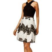 Adrianna Papell NEW Black Women's Size 6P Petite Lace A-Line Dress