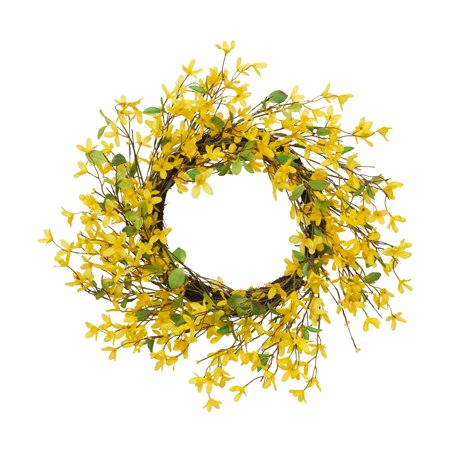 Gerson 24-Inch Diameter Natural Twig Forsythia Wreath, Yellow