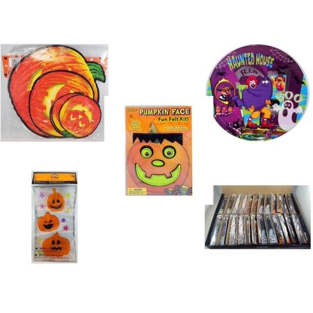 Halloween Fun Gift Bundle [5 Piece] - Classic Pumpkin Cutouts Set of 9 - McDonald's Haunted House, RIP, Boo  Plate - Darice Pumpkin Face Fun Felt Kit - Frankenstein - Gel Clings Pumpkins, Stars - La