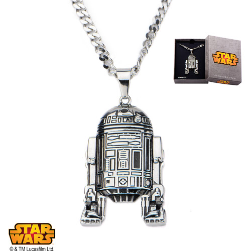 Disney Stainless Steel Star Wars R2D2 Pendant, 24""