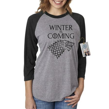 Games of Throne Winter is Coming Shirt Womens 3/4 Raglan Sleeve T-Shirt (Decoration Womens Winter Shorts)
