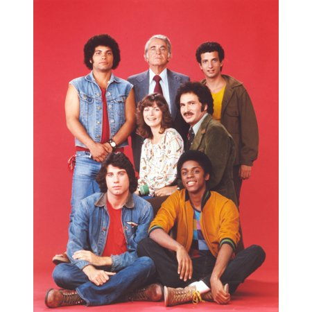 Welcome Back Kotter Group Picture In Red Background Photo Print