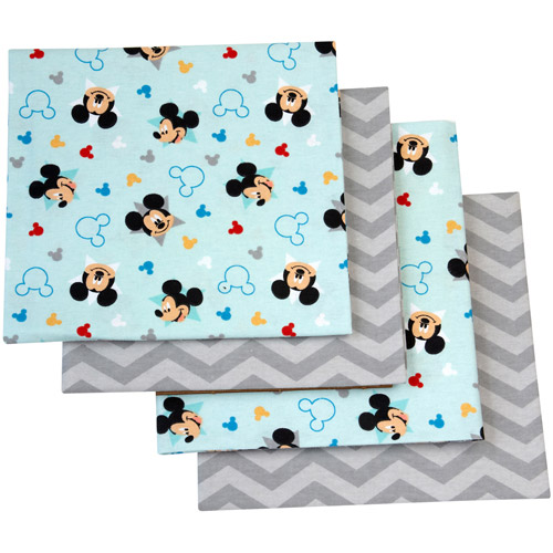 Disney Let's Go Mickey Mouse Flannel Blanket, 4-Pack