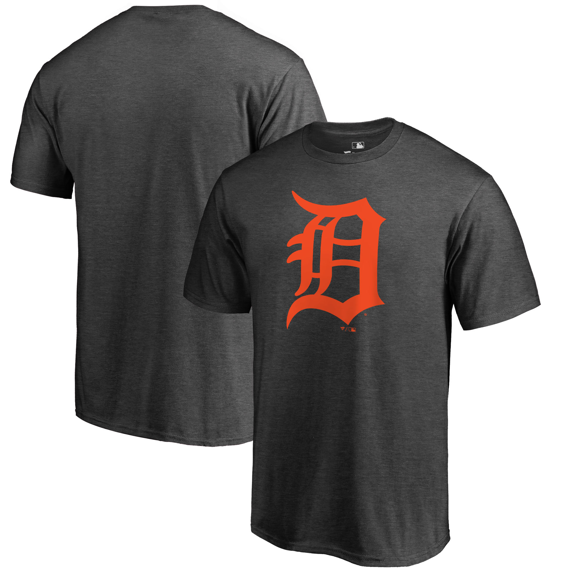 Detroit Tigers Fanatics Branded Primary Logo T-Shirt - Heathered Charcoal