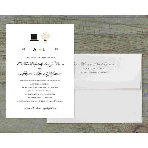 Top Hat and Bouquet Deluxe Wedding Invitation