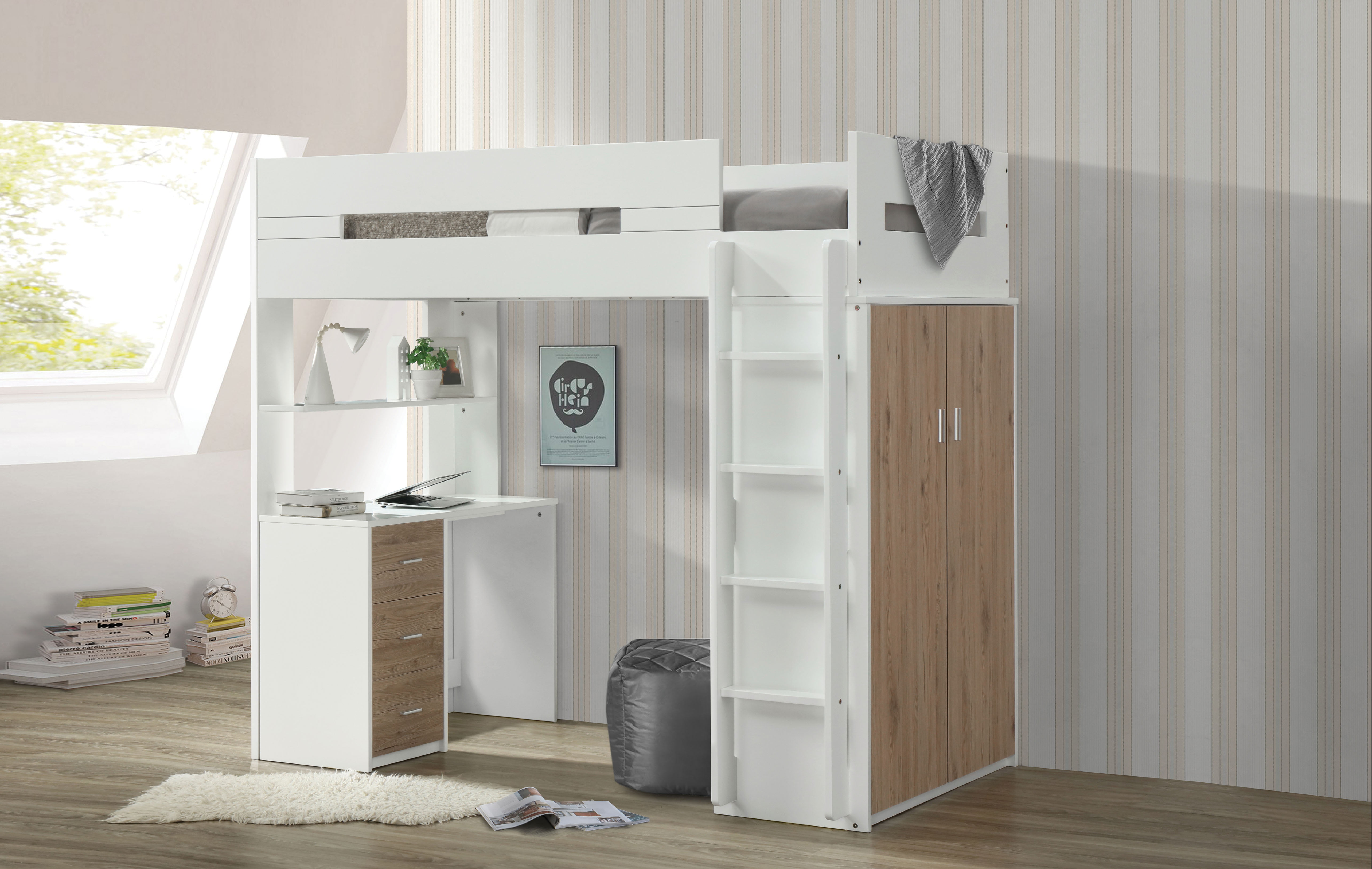 Acme Nerice Twin Loft Bed With Desk And