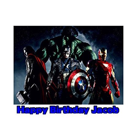 The Avengers Ironman Thor Hulk Captain America Image Photo Cake Topper Sheet Personalized Custom Customized Birthday Party - 1/4 Sheet - 76734 (Ironman Vs Thor)