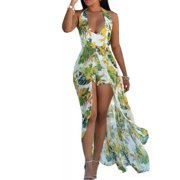 Summer Women Beach Sexy Jumpsuit Flower Print Halter Neck Romper Unique Long Dress Skirt