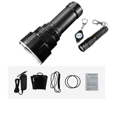 IMALENT DX80 32000 Lumens 8pcs CREE XHP70 2nd Generation LED Flashlight With Lumintrail LTK-10 Keychain Light (Black) - Led Keychain