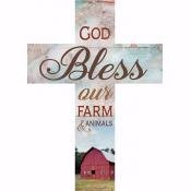 Wall Cross-God Bless Our Farm-Stick (8.5 x 12 x .75)