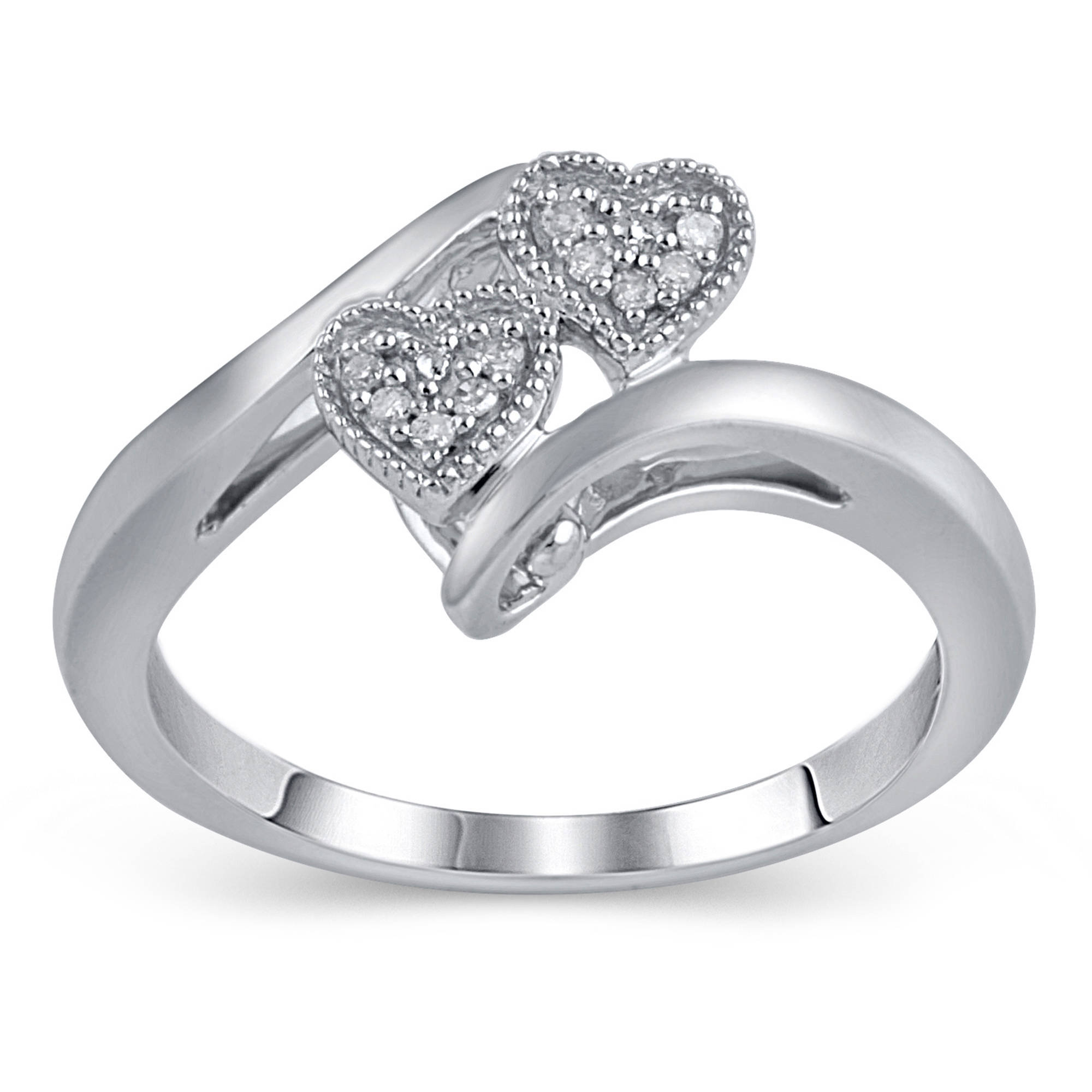 target wedding bands Diamond Accent Sterling Silver Double Heart Promise Ring
