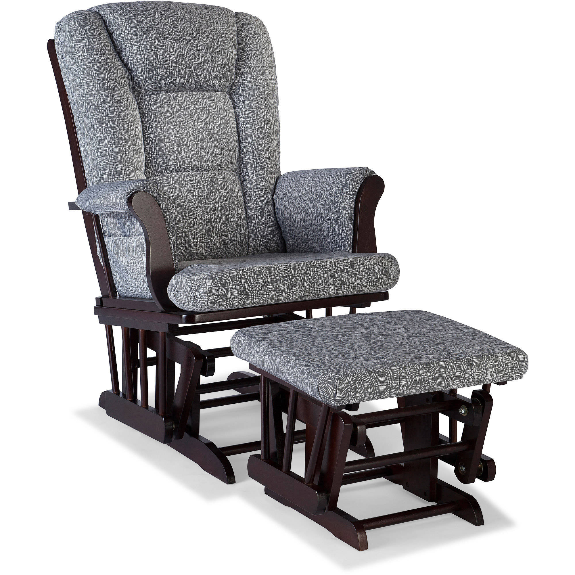 Storkcraft Swirl Tuscany Glider and Ottoman incl Lumbar Pillow, Slate Gray Cushions, Choose Your Cushion Color