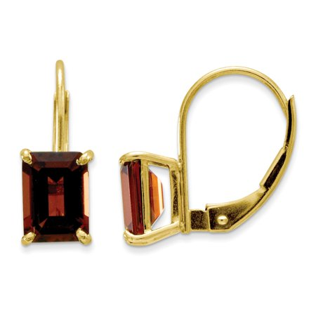 14k Yellow Gold 7x5mm Emerald Cut Garnet Earrings