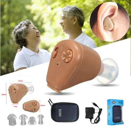 Newest Personal Mini In Ear Hearing Aids In visible Rechargeable Sound Amplifier Adjustable Tone with 4 Ear Plugs FDA Approved Gifts