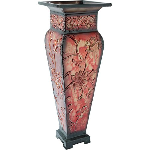 Elegant Expressions by Hosley Tall Embossed Vase, Red