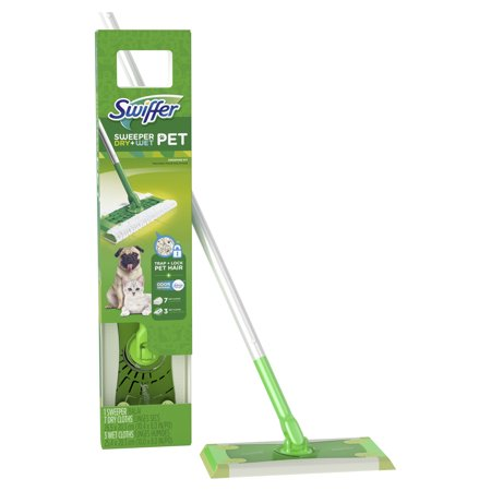 Swiffer Wetjet Wood Floor - Swiffer Sweeper Pet Dry + Wet Sweeping Kit (1 Sweeper, 7 Dry Cloths, 3 Wet Cloths)