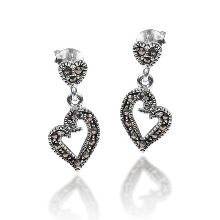 Curvy Heart Marcasite Style Pyrite Encrusted .925 Serling Silver Stud Earrings