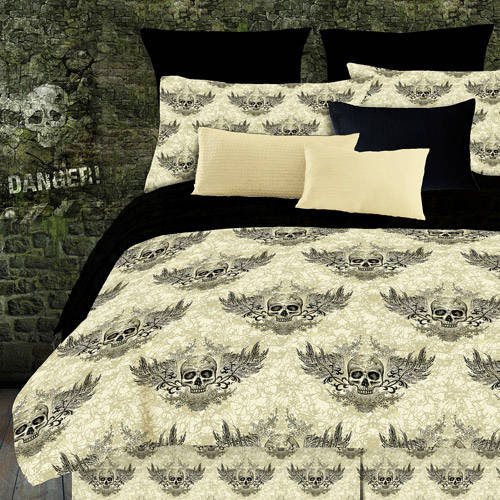Street Revival Winged Skull Sheet Set, Off White and Black