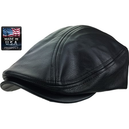 Genuine Leather Ascot Newsboy Cabbie - Made in USA - Black 100%