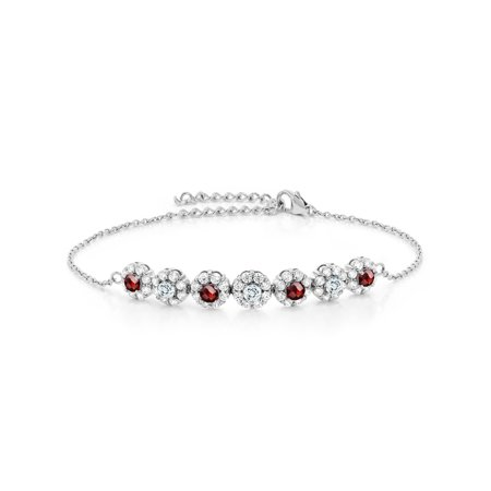 925 Silver 1.51 Ct Round Checkerboard Red Garnet Aquamarine Tennis Bracelet