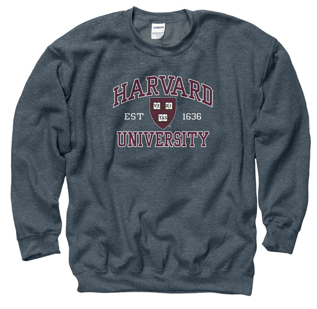 Harvard University Men's Crew-Neck Sweatshirt-Charcoal