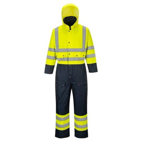Portwest S485 3XL Contrast Quilted Coverall Lined, Yellow & Navy - Regular