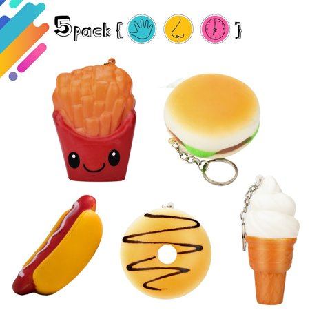 Hamburger Plush - Mosunx 5Pcs Squishy Toys Hot Dog Hamburger French Fries Donut Ice Cream Slow Rising Toy
