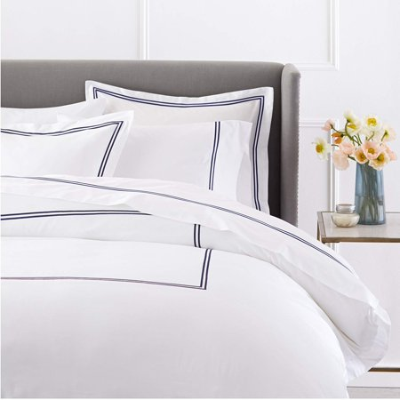 400-Thread-Count Egyptian Cotton Sateen Hotel Stitch Duvet Cover -King,