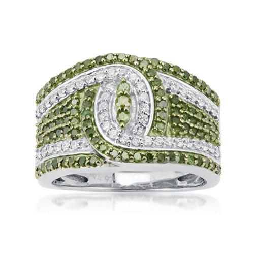 V3 Designs Sterling Silver 1.00ct TDW Green and White Diamond Knot Ring