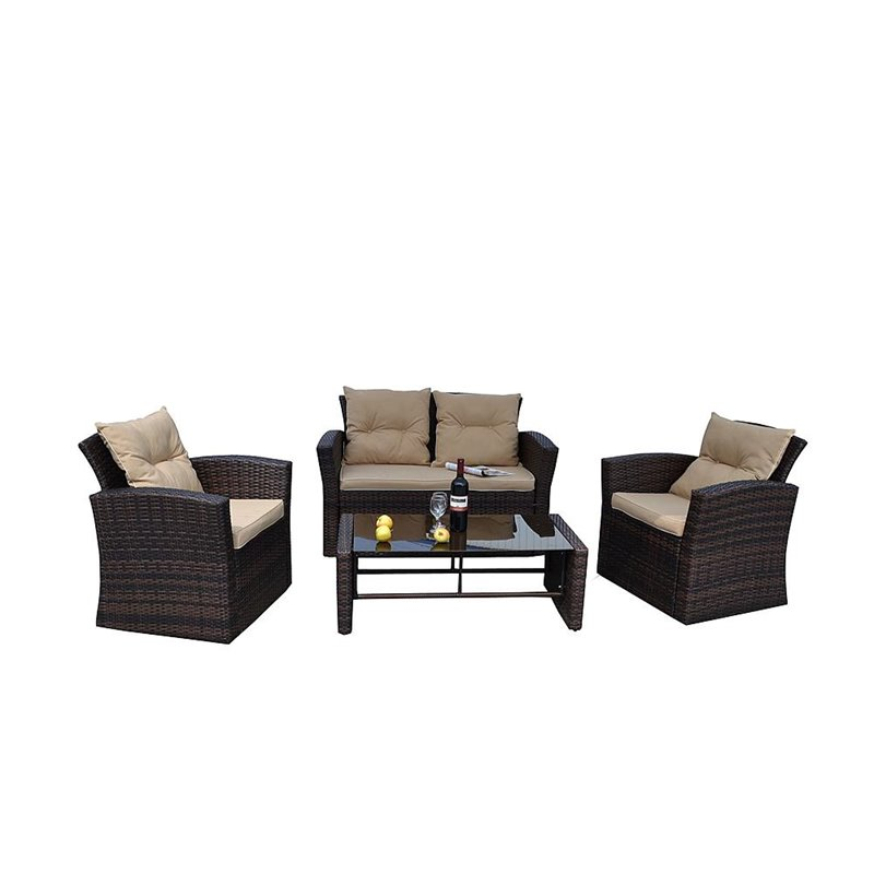 Thy-Hom Roatan 4 Piece Outdoor Wicker Conversation Sofa Set in Brown by The-Hom