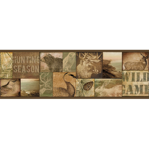 Brewster Home Fashions Echo Lake Lodge Trumball Wild Game 15' x 6'' Wildlife Border Wallpaper