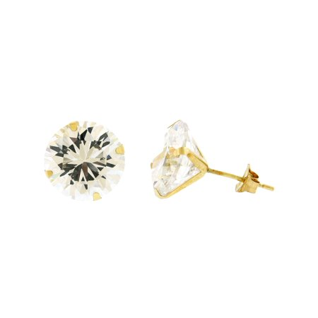 14k Yellow Gold Round Cz Stud Earrings 1 5mm