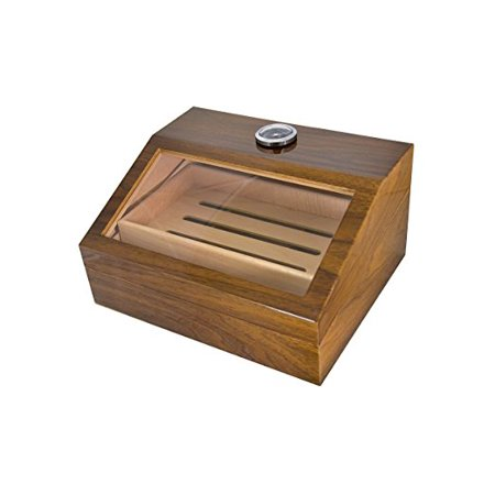 - La Madera Cubana Cigars Glass and Wooden Cigar Humidor High quality Luxury Cigar Box Holds 50 cigars Lightweight Durable and Portable desktop humidor Nice Gift Packaging