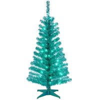 National Tree TT33-314-40 4 ft. Turquoise Tinsel Tree with Plastic Stand & 70 Clear Lights
