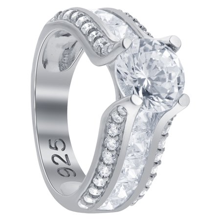 Gem Avenue 925 Sterling Silver Princess Cut Cubic Zirconia Prong Set Ring