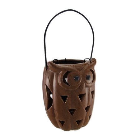 Ceramic Owl Cut-Out Design Candle Lantern Toasted Brown